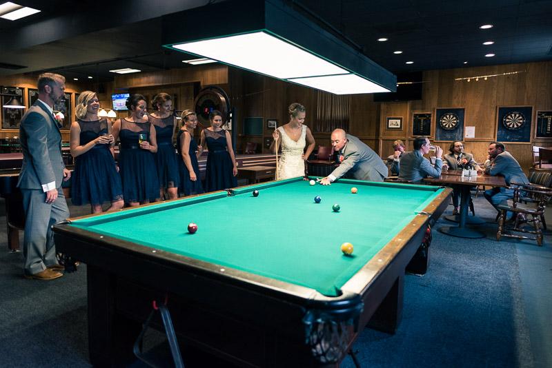 Denver athletic club wedding pool table