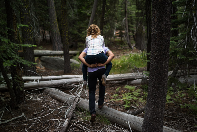 Tahoe Engagement Photography walking on logs