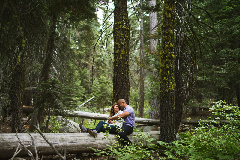 Tahoe Engagement Photography sitting on log