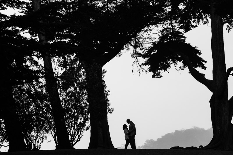San Francisco engagement photography alamo square black and white silhouette