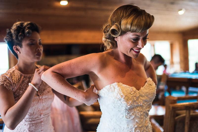 Lake Tahoe Wedding Photographer bride getting dressed