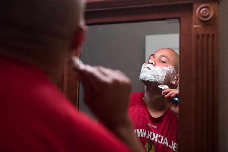 Lake Tahoe Wedding Photographer groom shaving