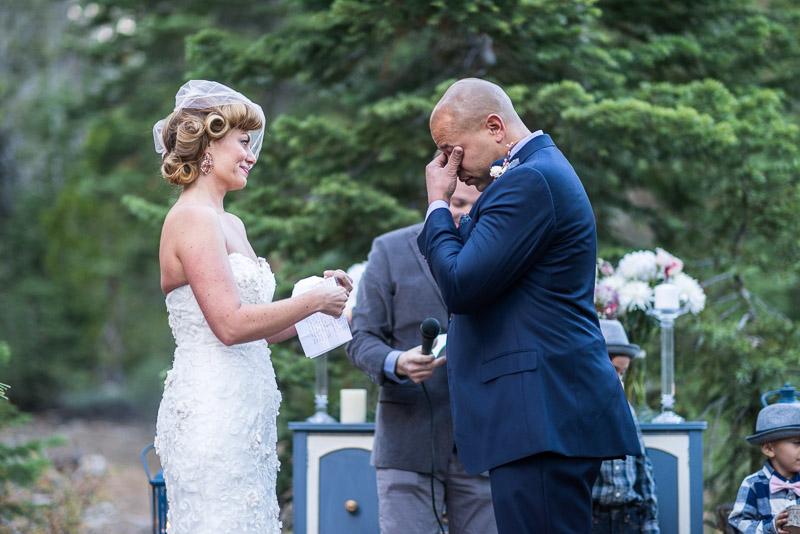Lake Tahoe Wedding Photographer groom wiping away tears