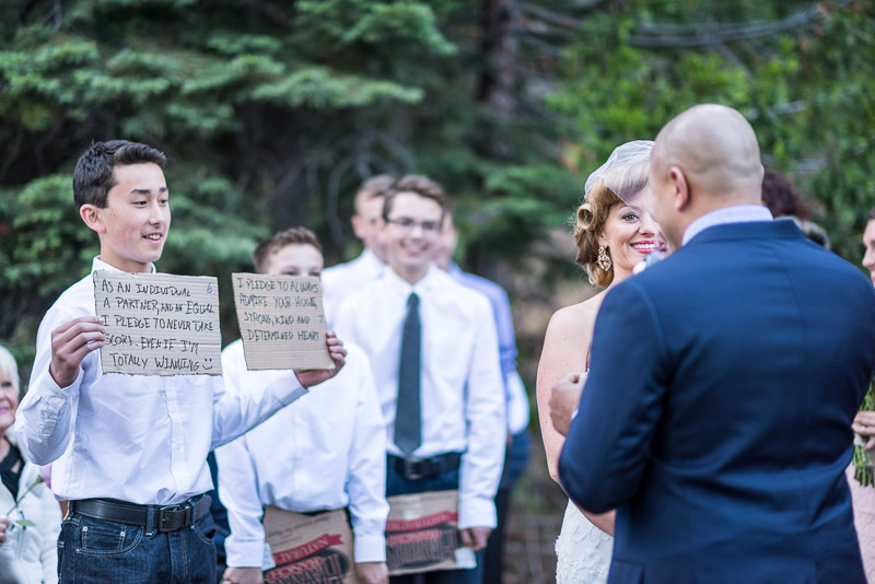 Lake Tahoe Wedding Photographer cardboard wedding vows