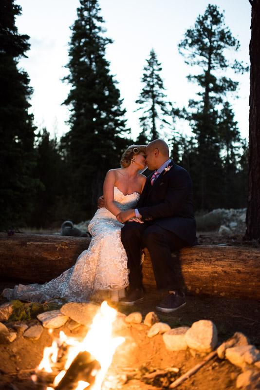 Lake Tahoe Wedding Photographer bride groom fireside