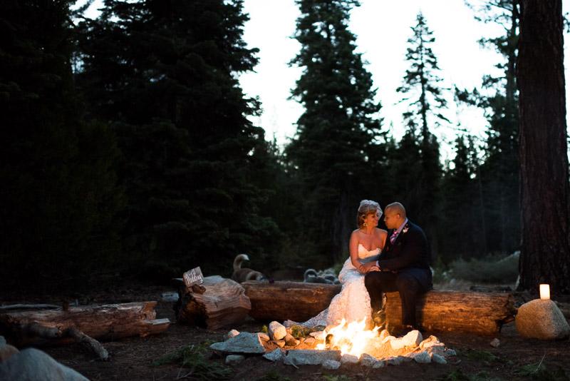 Lake Tahoe Wedding Photographer bride groom campfire