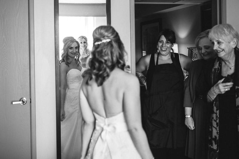 San Jose wedding photography bride looking in mirror