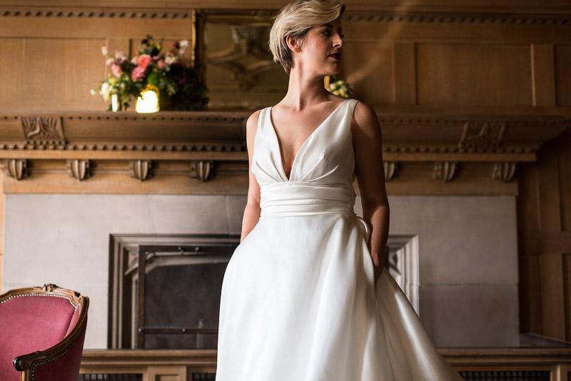Bride standing in dress