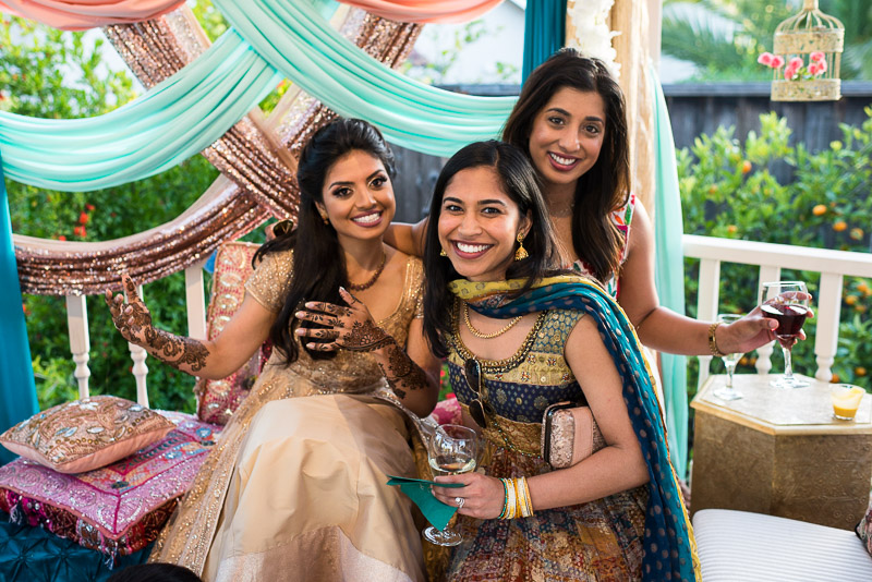 San Francisco Mehndi Ceremony Photographer laughing friends