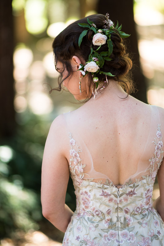 deer park villa wedding photography bride flower crown