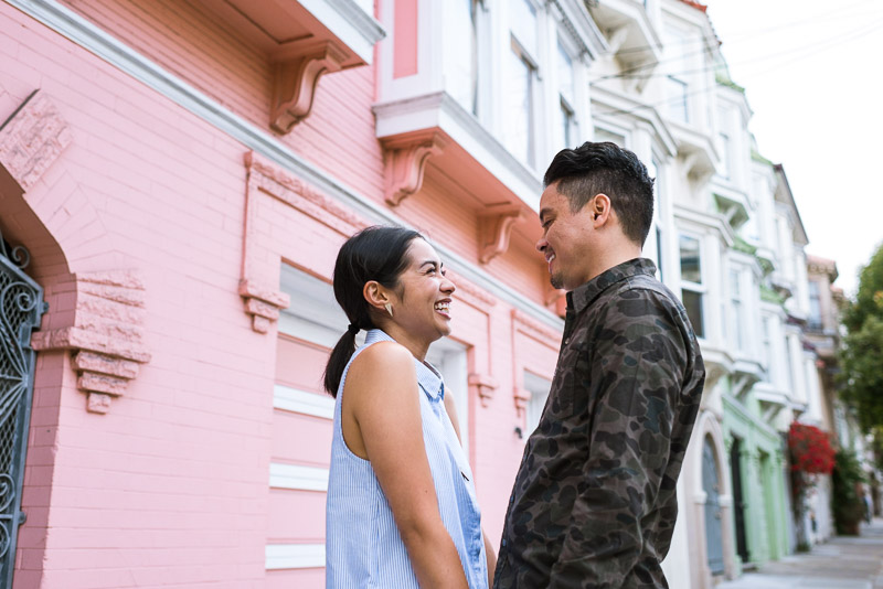 San Francisco Engagement Photography Mission District pink house