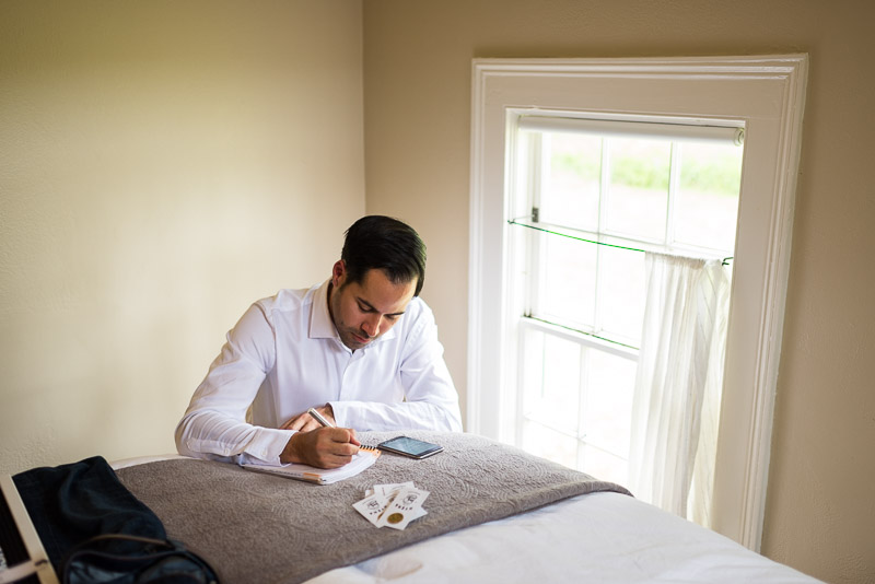 Strauss home ranch wedding groom writing vows