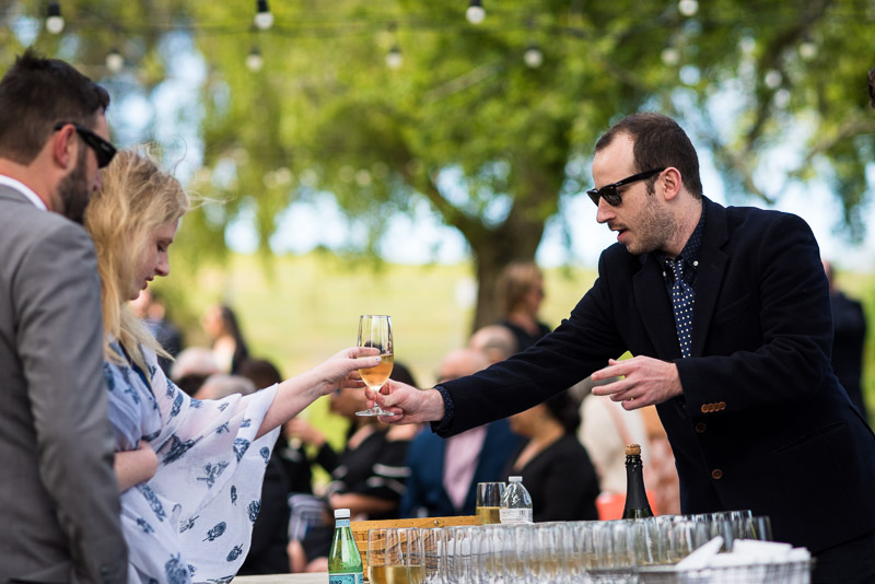 Strauss home ranch wedding guests with drinks