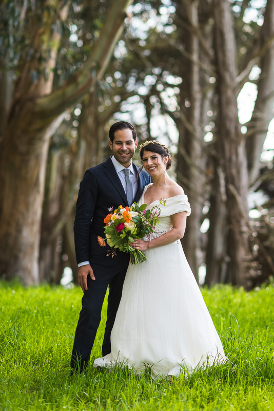 Strauss home ranch wedding couple in eucalyptus trees