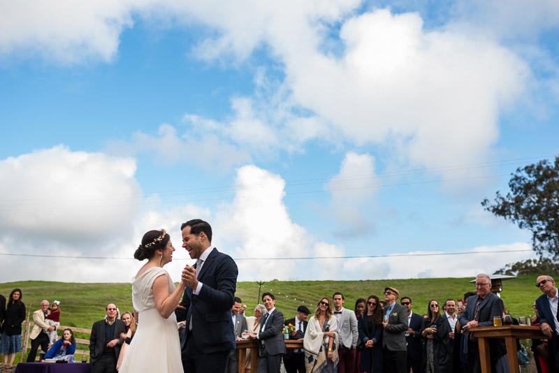 Strauss home ranch wedding first dance blue sky clouds