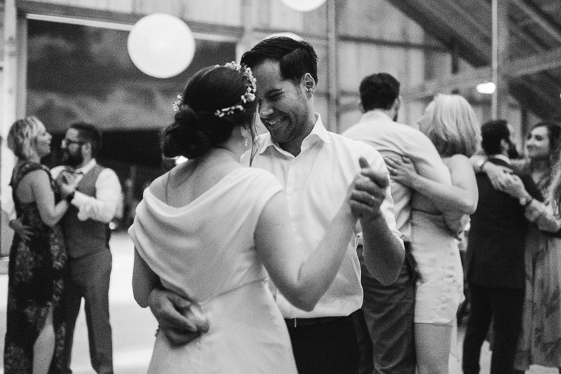Strauss home ranch wedding black and white dancing couple