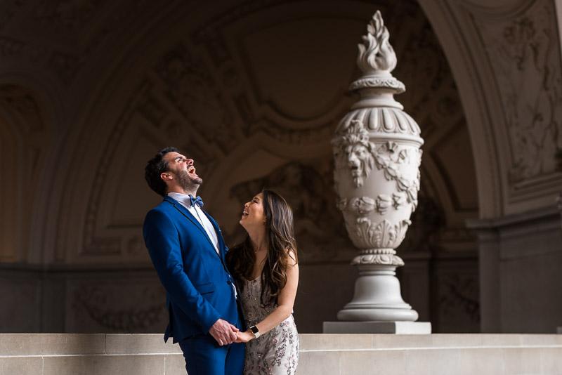San Francisco City Hall Wedding Photography laughing couple