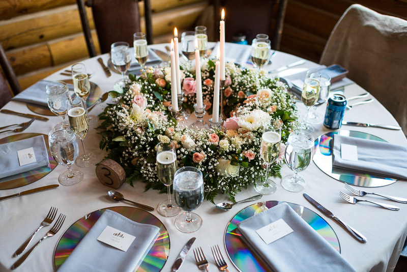 Vail Wedding Photography Camp Hale laser disc table setting