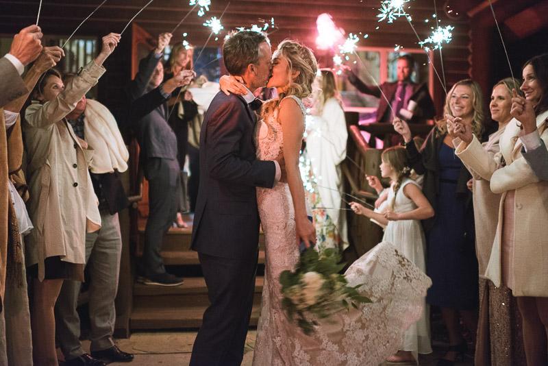 Vail Wedding Photography Camp Hale sparkler kiss