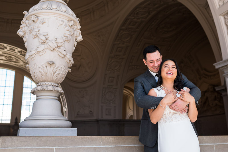 San Francisco City Hall Wedding Photography laughing couple
