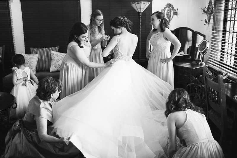 Denver Wedding Photography Wellshire Inn bride dressing black and white