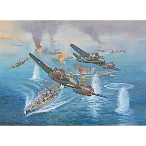 Fighter Planes and Ships Painting by John Bradley