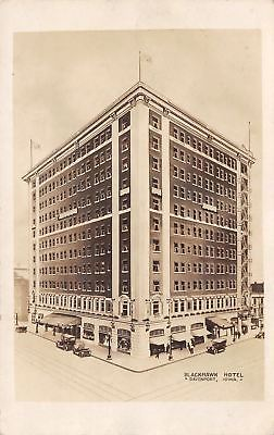 Davenport-Iowa-Blackhawk-Hotel-Vintage-1920s-Cars-Real-Photo-Postcard-RPPC