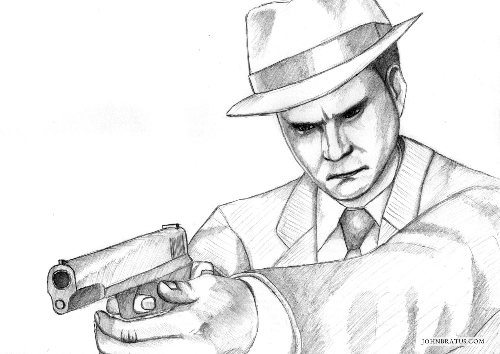 Pencil fanart drawing of the L.A. Noire detective Cole Phelps