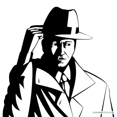 Neo-noir vector logo of a private detective tilting his hat, white background version