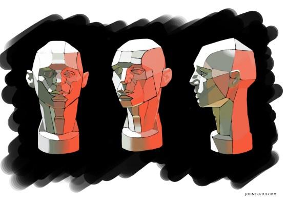 Digital sketch of a planar human head bust