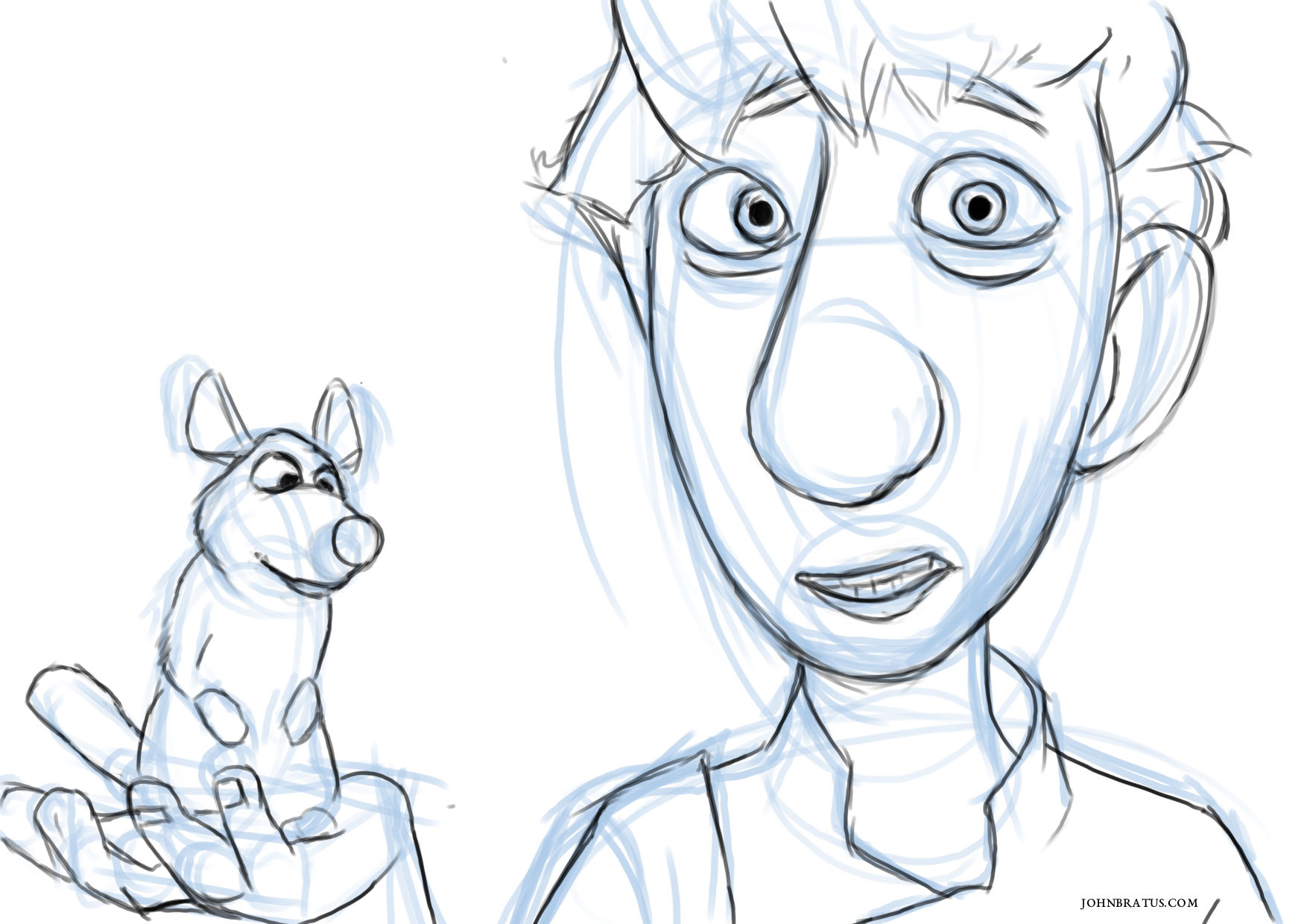 Digital sketch of the main characters from the movie Ratatouille