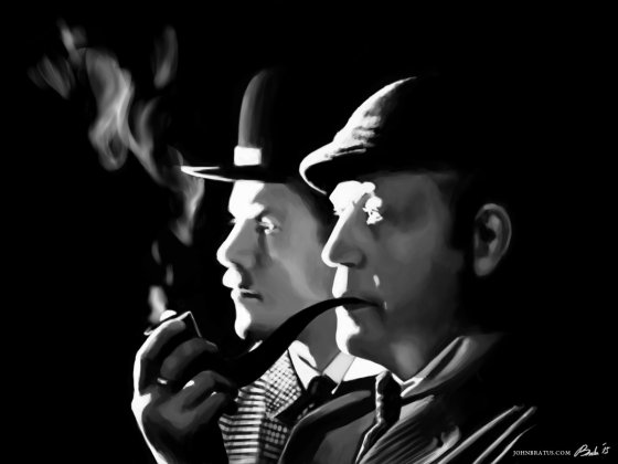 Digital painting of Sherlock Holmes smoking a pipe alongside Doctor Watson from the Russian cinematographic adaptations