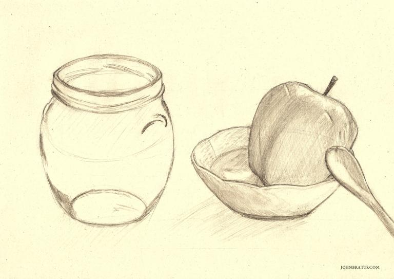Still life drawing of regular household items; a glass jar, a bowl, an apple, and a spoon