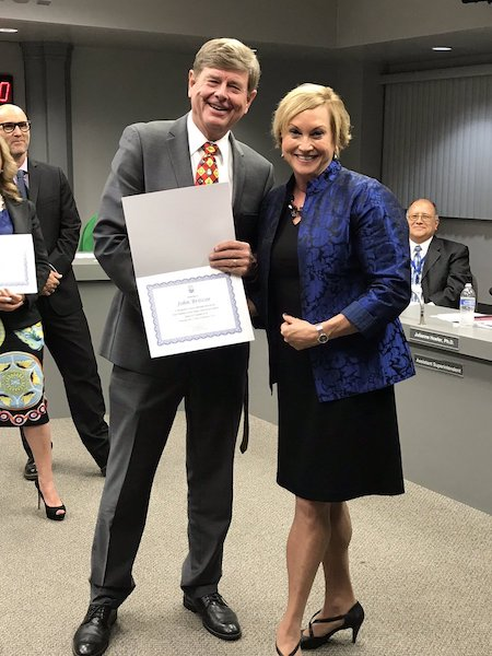 John Briscoe Receiving Award For School Board Service