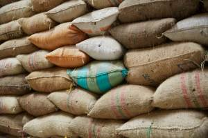 Colombia - large pile of coffee sacks