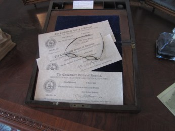 Requisition for Ordnance and Ordnance Stores Period type bed upstairs in the Lloyd Tilghman House & Civil War Museum.