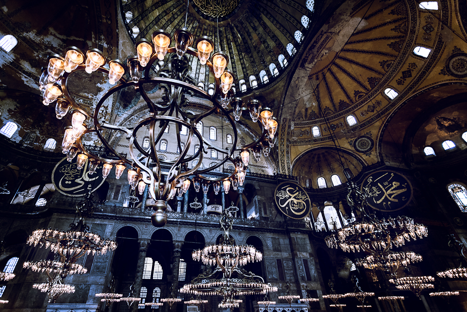 Photograph of the inside of Hagia Sophia and its chandeliers