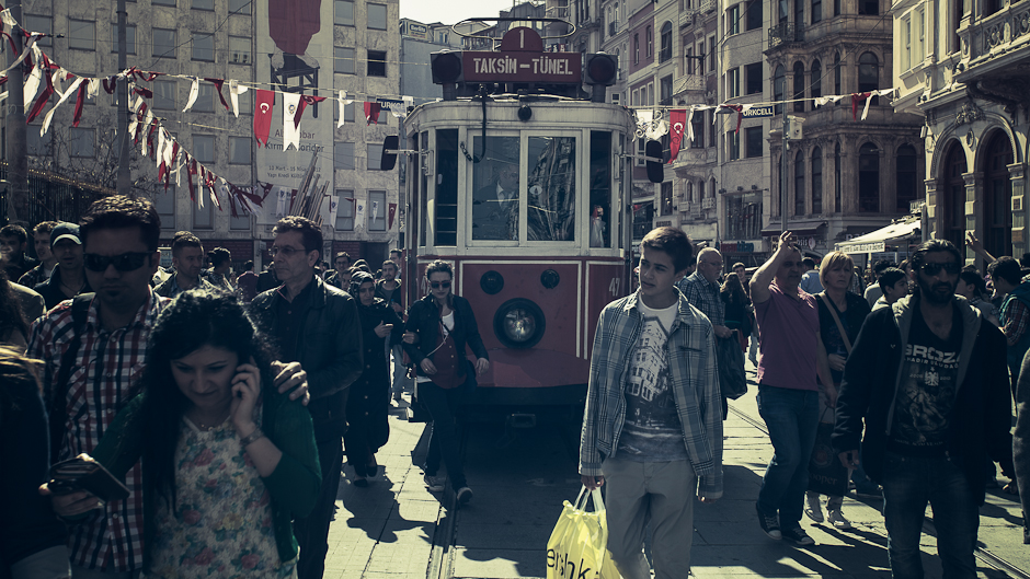 A photograph of people in the Taksim to Tünel tram in Istanbul