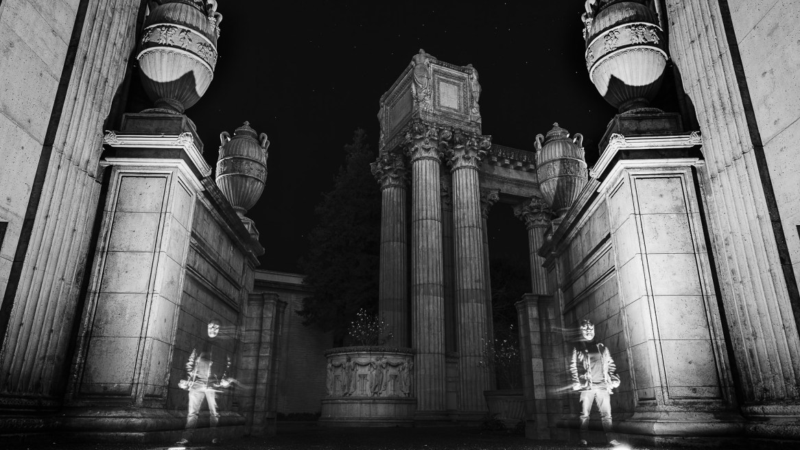 Self portrait in black and white, long exposure in the palace of fine arts in san francisco