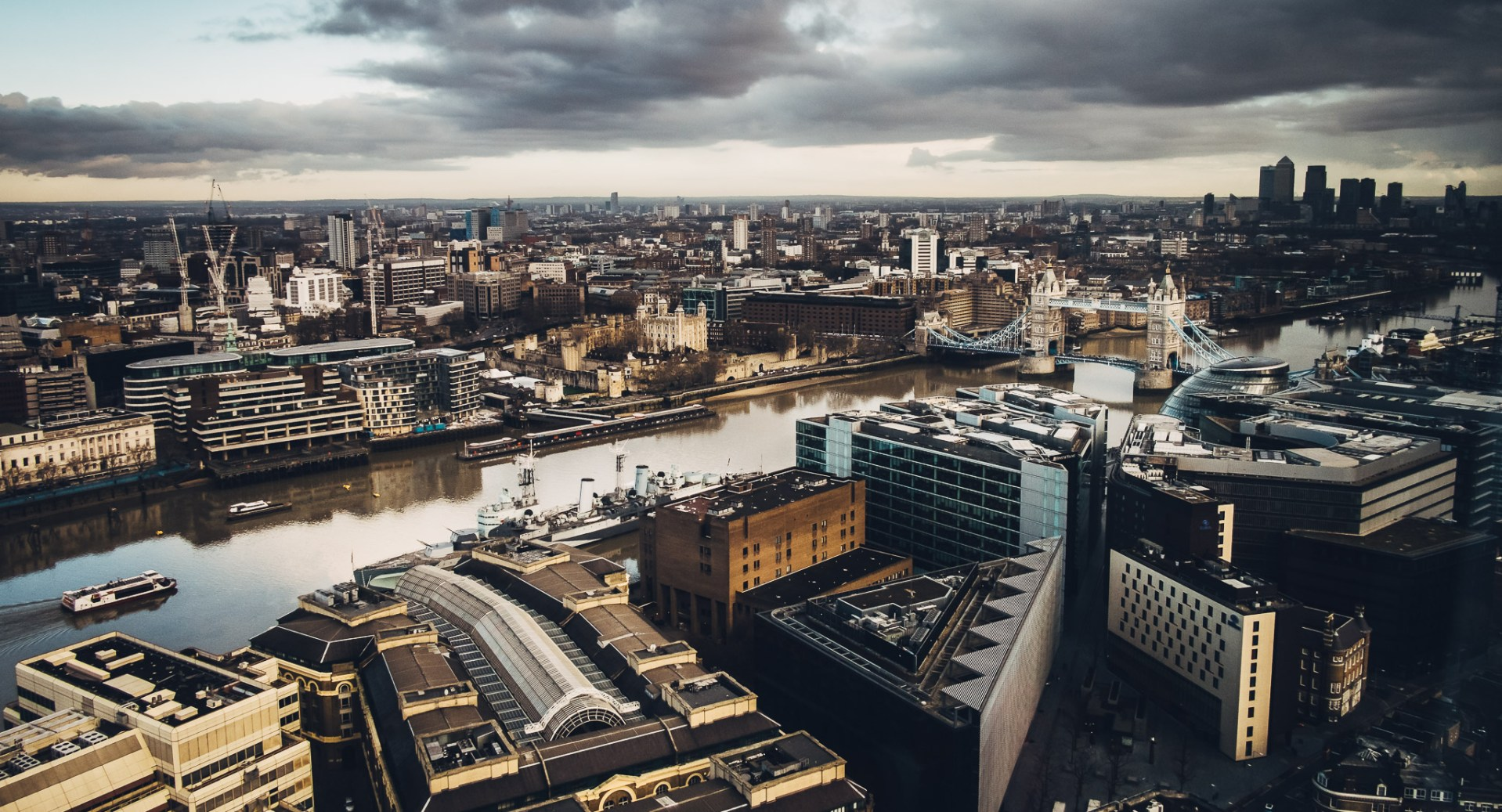 Looking down to Tower Bridge and the River Thames, from the 33rd floor of The Shard