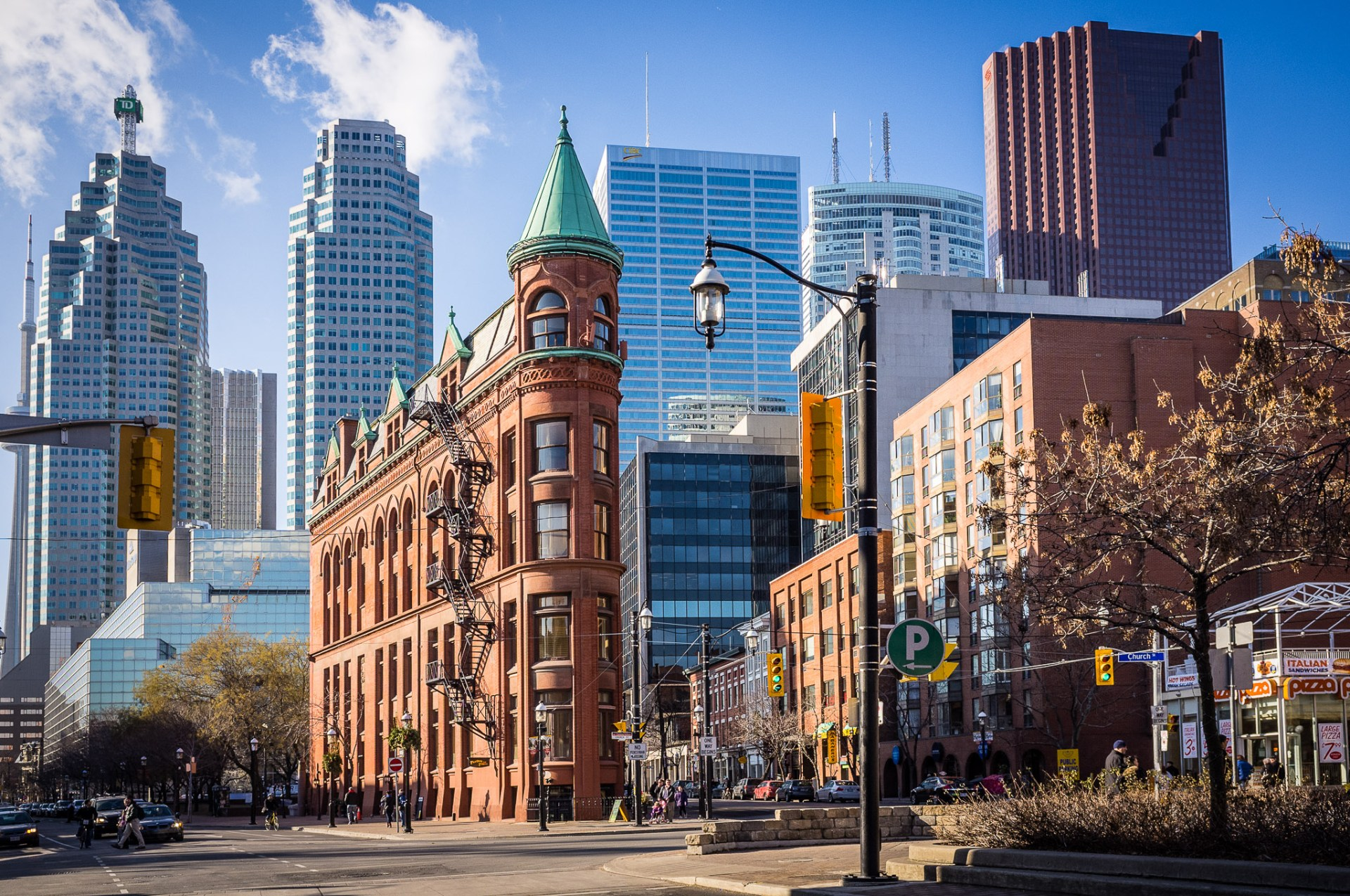 A photograph of Toronto's Gooderham Building, the flat Iron