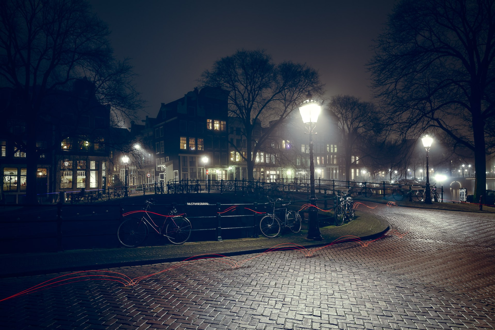 A foggy evening on the Pastoorbrug in Amsterdam