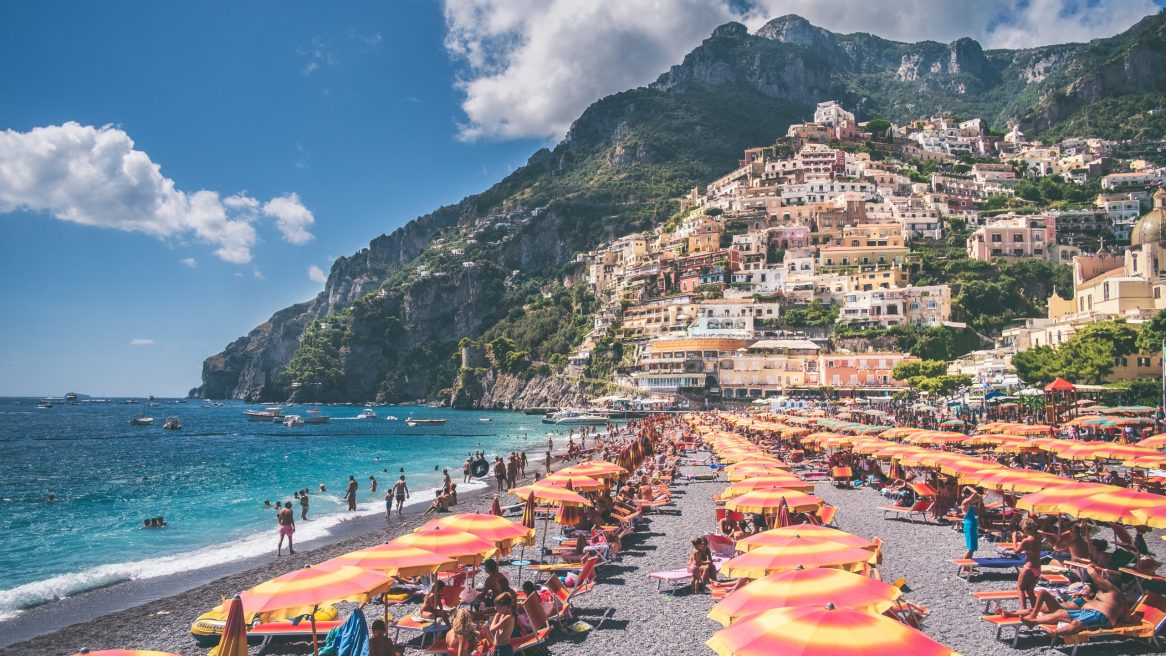 Positano beach in the summer