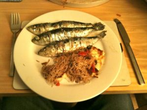 Grilled Sardines With Crispy Halloumi