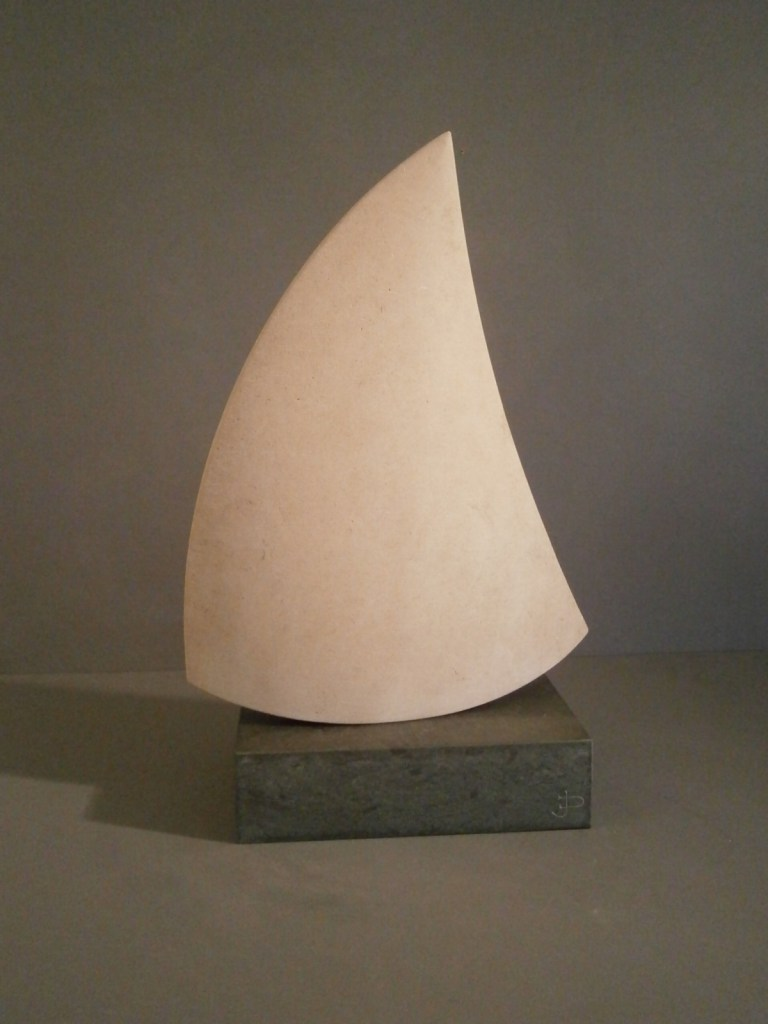 Sail shape sculpture in Portland Stone