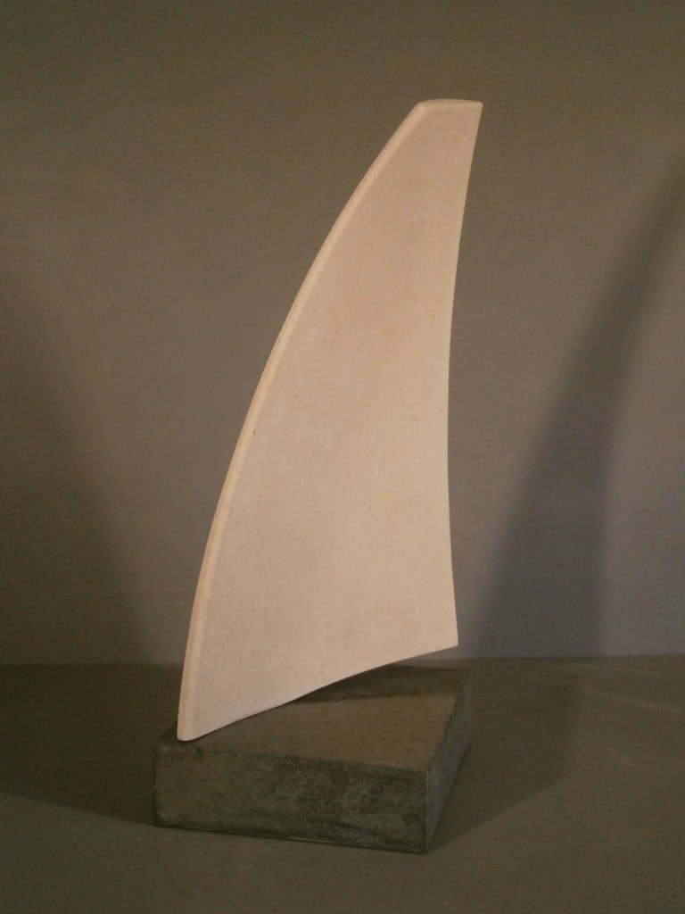 Stone sculpture sail form by John Davey