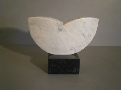 Abstract stone sculpture.