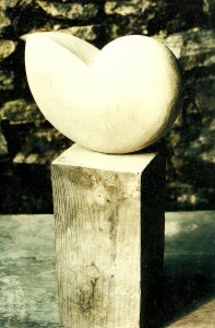 """ Shell "" Bath Stone & Pine Wood Sculpture"