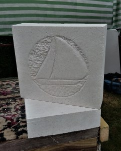 Sailing Boat in Portland Stone carved by student.