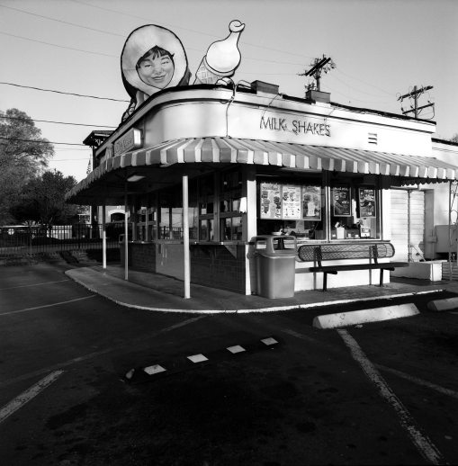 3-29-2015 Dairy Queen at first sunlight-Charlotte N.C.-Hasselblad 503-50mm Zeiss Distagon lens-Ilford Delta 100 film-PMK Pyro developer.